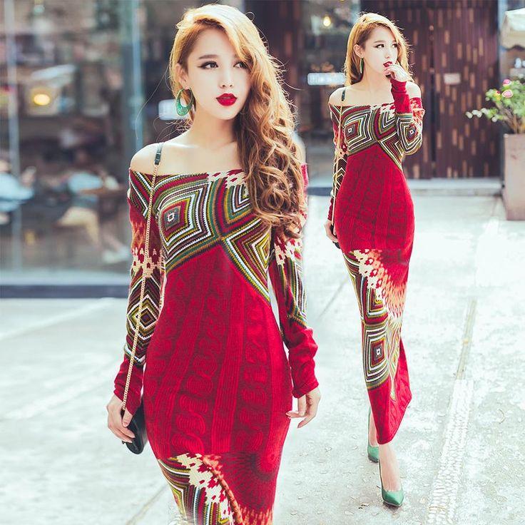 Knitted dress 2016 autumn winter women red bohemia print long sleeve slim hip…