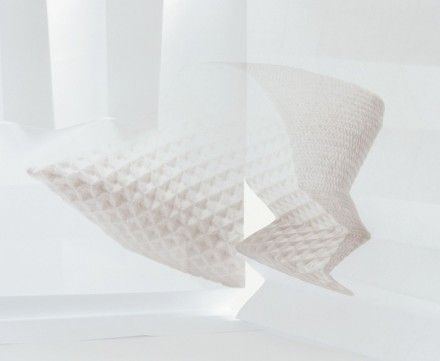 Stereo cushion with 3D textiles designed by Studio Samira Boon. Photo in cooperation with Studio Yvonne Lacet.