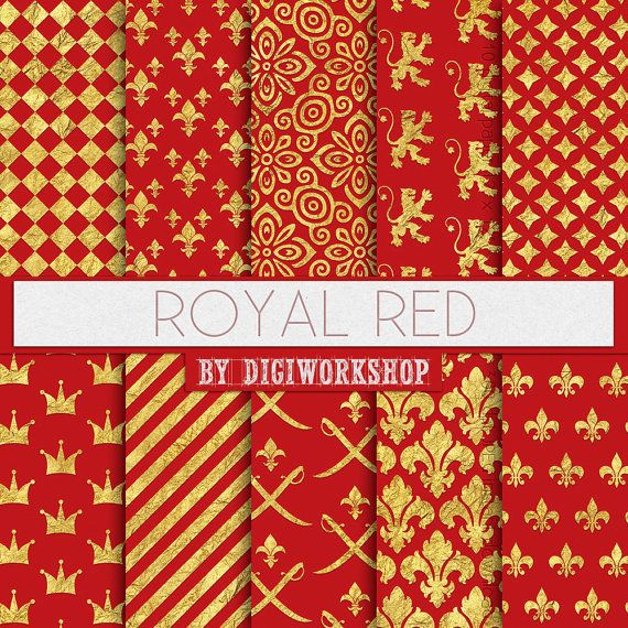 "#Red #Digital Paper: Red Patterns or #Royal Backgrounds - ""Royal Red"" in #gold and red colors  10 red digital #paper ""Royal Red"" this is digital gold and red paper with crowns a... #etsy #digiworkshop #scrapbooking #illustration #creative #clipart #printables #crafting #red #digital #royal #regal"