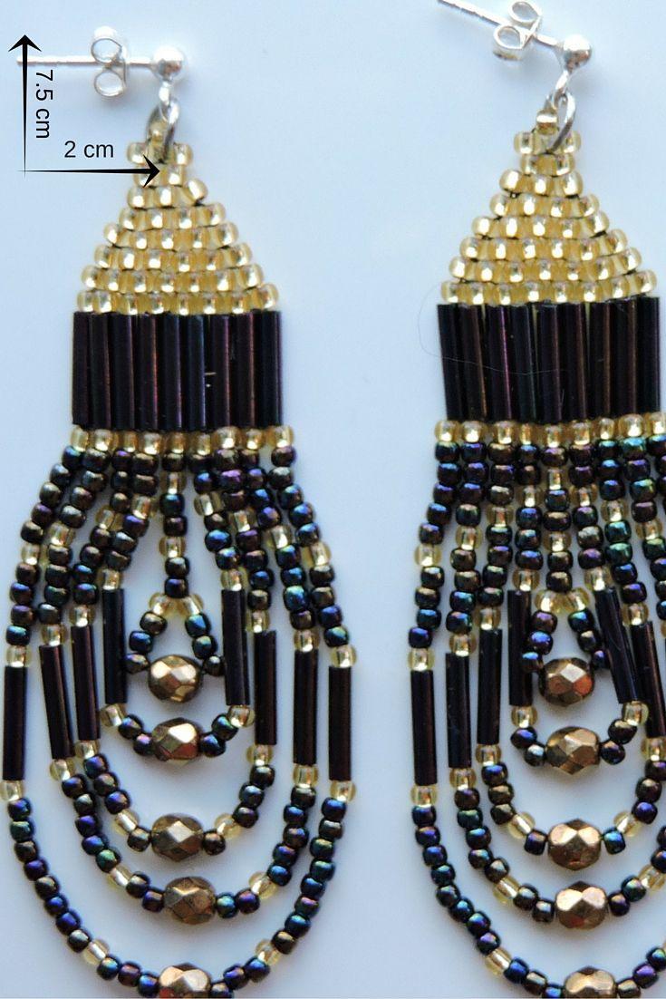 bijuterie artizanală cercei lungi cu franjuri din mărgele de sticlă și tortițe din argint 925 -AURIU