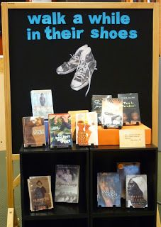 "Nice theme for a reading display ""Walk a while in their shoes"""