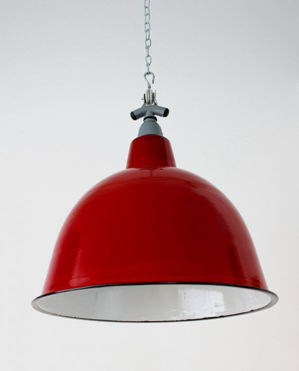 Cloche (Red) A deeper bell-shaped style straight from the mid-century factory floor, this light shade adds a great retro look to any commercial or residential space.