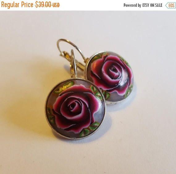 On Sale Spring SALE, Dark Red Rose Earrings, Bordeaux roses earrings, romantic roses earrings, vintage earrings, elegant earrings, ,  gift,