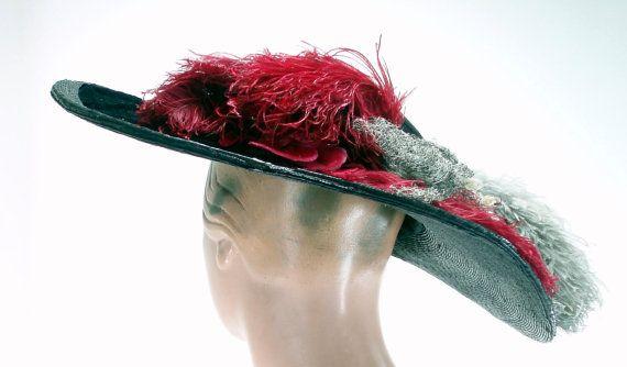 Edwardian Widebrim Straw Hat c1910 . by ALLSORTSOFWONDERFULL