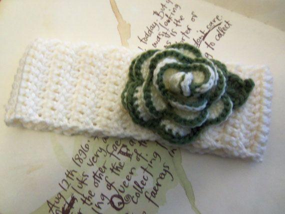 Cream Crochet Ear Warmer With A Crochet Flower. by Roxana010