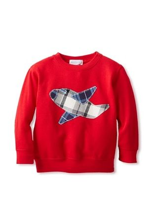 71% OFF Tilly & Jax Boy's Plaid Airplane Crew Neck Sweatshirt (Red)