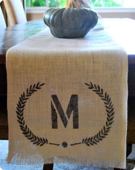 Seems like it would be fun to make - monogrammed burlap table runner