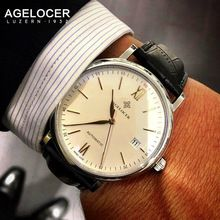AGELCOER Swiss mechanical watch silver gold mesh band business men luxury brand watches font b dive