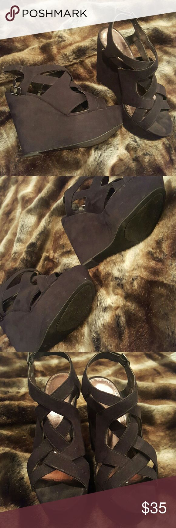 Black platform strappy wedges Bakers brand. Black suede material. Strappy platform wedges. Great condition. Not worn many times. Bakers Shoes Wedges