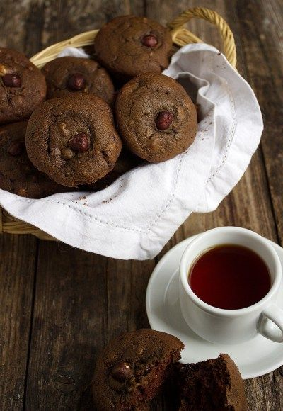 Chocolate Hazelnut and Dried Cherry Muffins