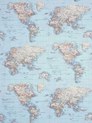 Wereldkaart canvas, 140 breed en 7,95 per meter