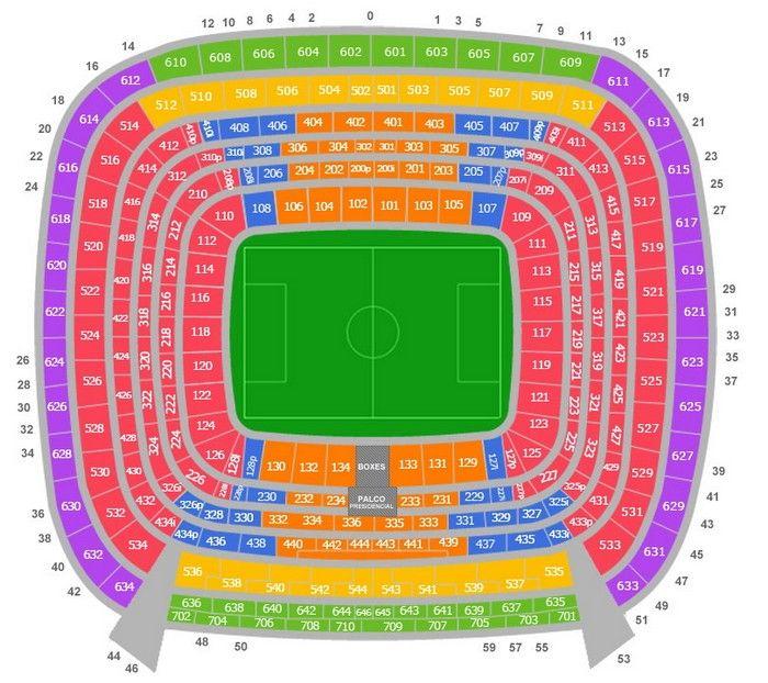 Купить Билеты на футбол Реал Мадрид - План Стадиона Сантьяго Бернабеу по входам (воротам)