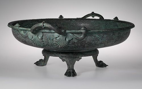 Bronze footbath with 3 legged stand [Greek] (38.11.5a,b) | Heilbrunn Timeline of Art History | The Metropolitan Museum of Art