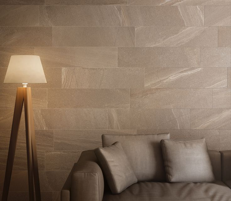 A rivestimento di questo living è stato utilizzato il colore Tan della nostra collezione effetto pietra: Lake Stone http://www.supergres.com/your-home/pavimenti/item/565-lake-stone