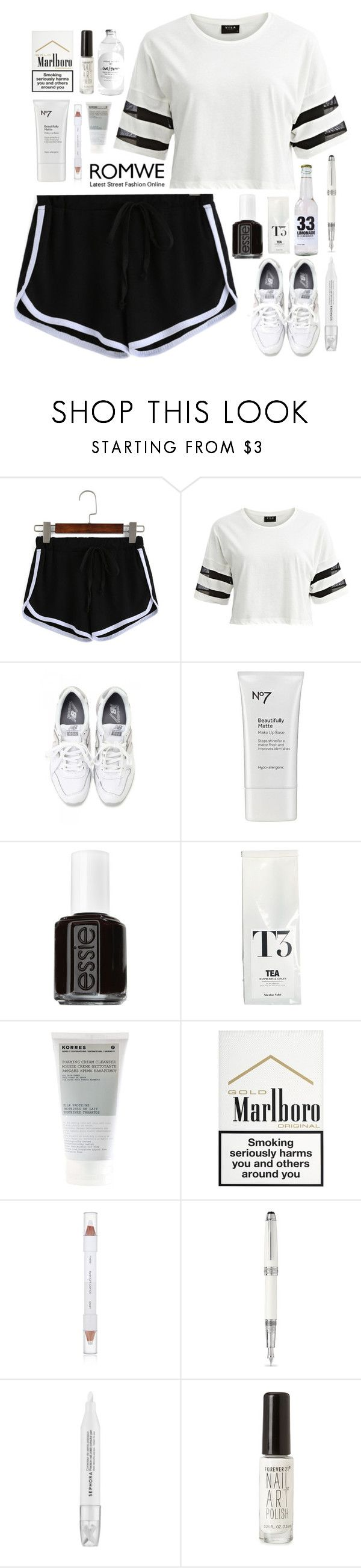 """""""black 'n' white"""" by annamausi ❤ liked on Polyvore featuring VILA, New Balance, Boots No7, Essie, Nicolas Vahé, Korres, shu uemura, Sephora Collection and Forever 21"""