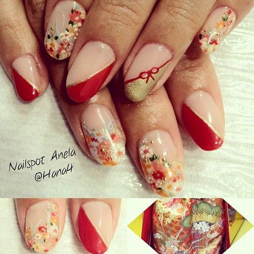 i like drawing japanese pattern #和装 #ブライダルネイル #nail #nails...