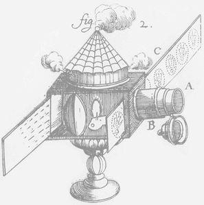 La « lanterne magique », appareil d'optique, apparaît en 1659, elle permet la projection amplifiée, sur écran, d'images peintes sur verre