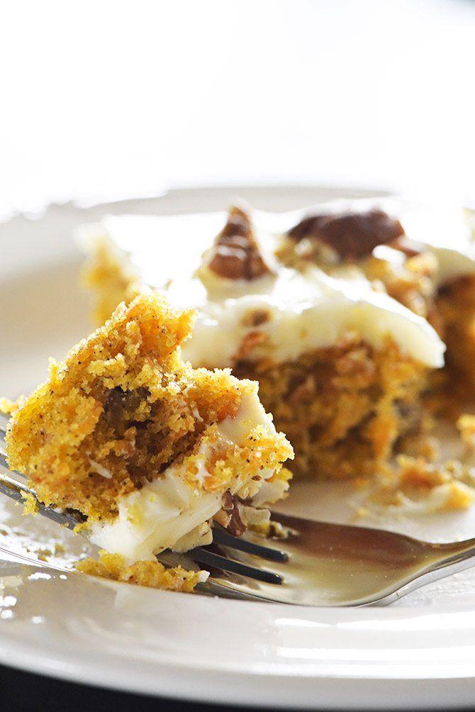 Easy Carrot Cake Sheet Cake Recipe via @addapinch