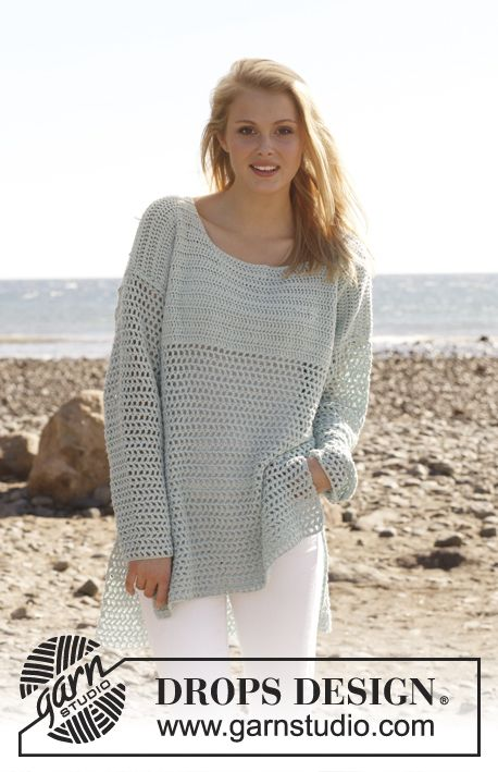 "Crochet DROPS jumper in ""Cotton Light"". Size: S - XXXL. ~ DROPS Design"