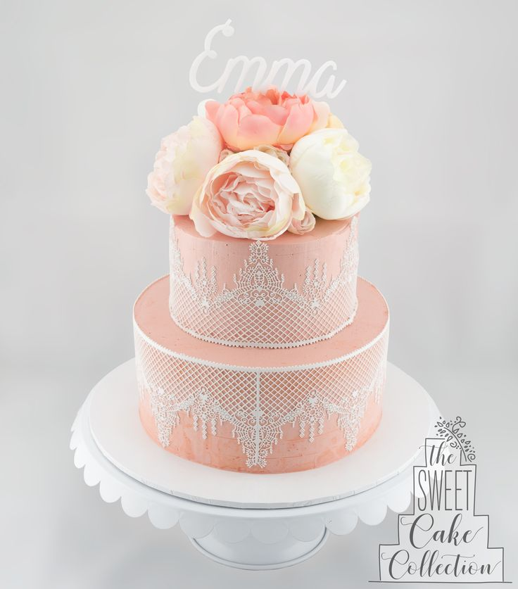 Peonies and Lace Cake