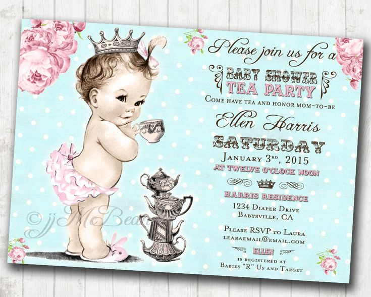 Girl Baby Shower Invitation Princess Girl Tea Party Baby Shower Invitation For Girl - Floral Shabby Chic - FREE SHIPPING or DIY Printable by jjMcBean on Etsy https://www.etsy.com/listing/207742523/girl-baby-shower-invitation-princess