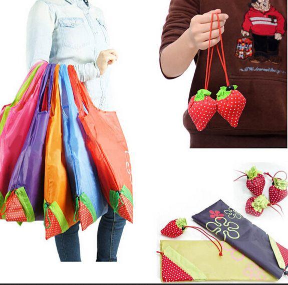 1 Pcs épaissir Eco sac de stockage pliable Strawberry Shopping Bag fourre - tout réutilisable supermarché stockage sacs colorés(China (Mainland))