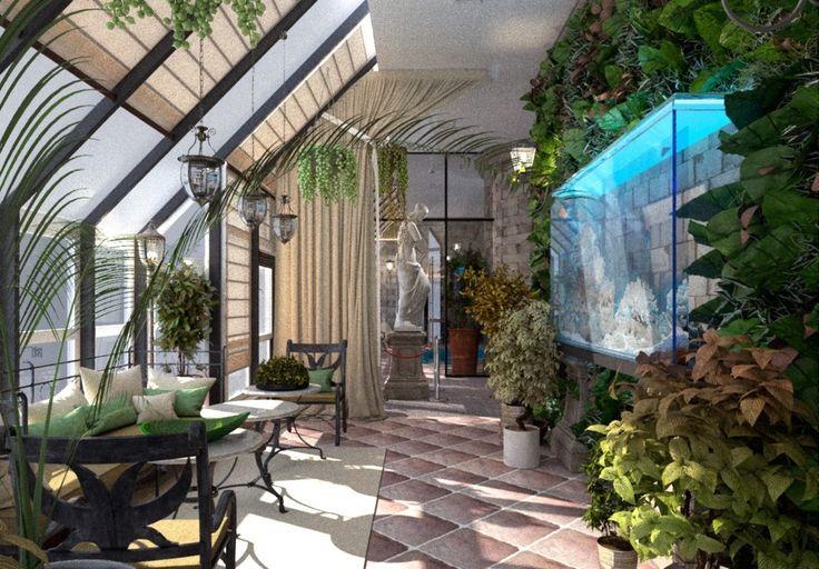 аквариум,зона отдыха,зимний сад,дизайн зимнего сада,цветы,растения,живая стена,био-стена