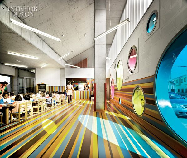 Southern spain 39 s kids day care center the round windows Multipurpose room design ideas