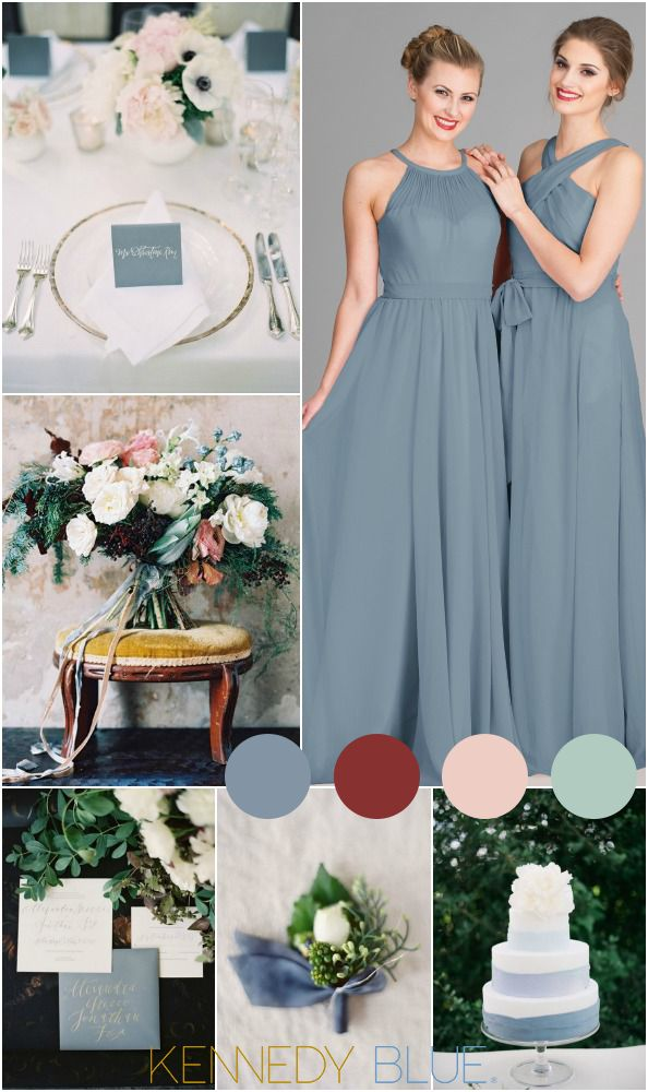 A gorgeous slate blue wedding color palette with hints of deep reds, pinks, and lots of greenery!