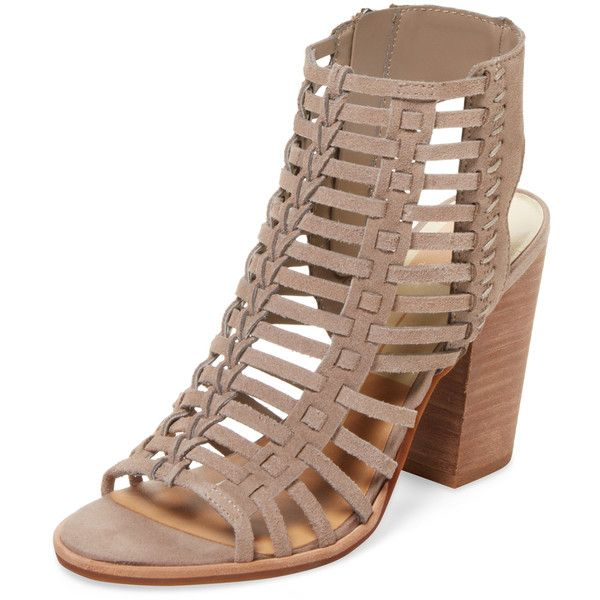 Dolce Vita Women's Prissa Leather Cage Sandal - Grey, Size 10 ($69) ❤ liked on Polyvore featuring shoes, sandals, grey, grey heeled sandals, platform heel sandals, platform shoes, caged heel sandals and high heel platform sandals