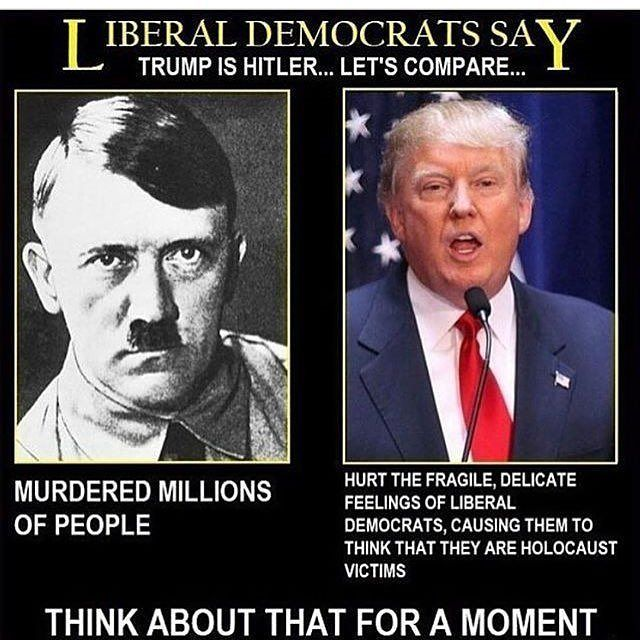 It is an example of communism cause trump is a political person and he's upper class and him and hitler both hurt thousands of people