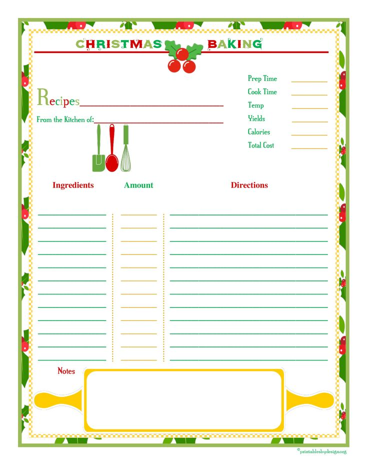 Christmas Baking Recipe Card u2013 Full page recipe card with space - recipe card