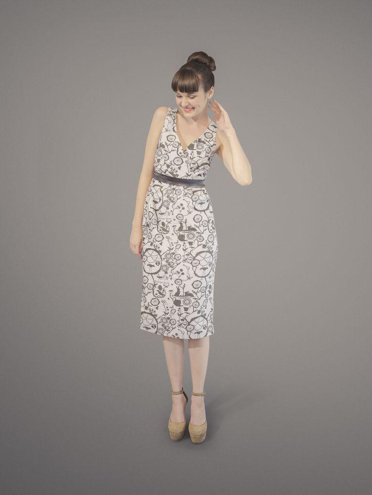Time For Tea Dress - Grey Blackeyed Susan Print