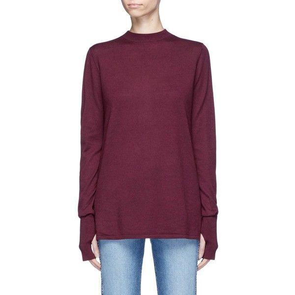 Dion Lee Tie loop back Merino wool sweater ($550) ❤ liked on Polyvore featuring tops, sweaters, red, merino top, purple top, tie sweater, sash belt and red sash belt