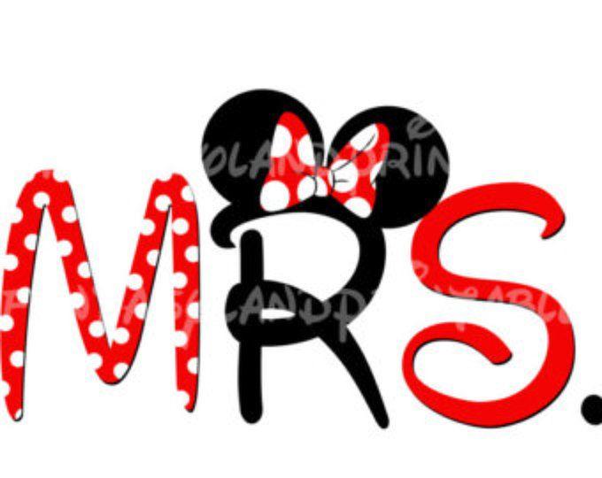 MRS Minnie Mouse DIY que imprimir imprimible plancha Transfer Disney princesa boda novia novio