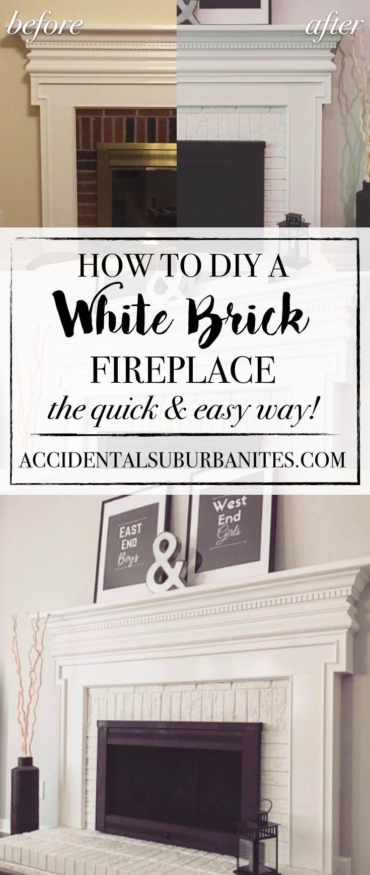 the easiest DIY tutorial for how to transform an ugly brick fireplace into a chic modern farmhouse white brick fireplace by painting the brick white!
