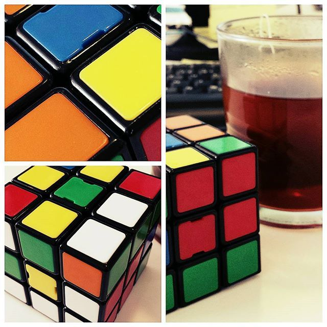 It is important to take a break from time to time  #break #work #hubspider #tea #colorful #instamood #rubikscube #instacool #blue #red #yellow