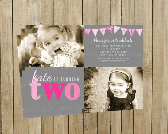 66 best jolies 2nd bday ideaa images on pinterest birthday pink two second birthday invitation gray and pink girl printable custom digital filmwisefo Choice Image