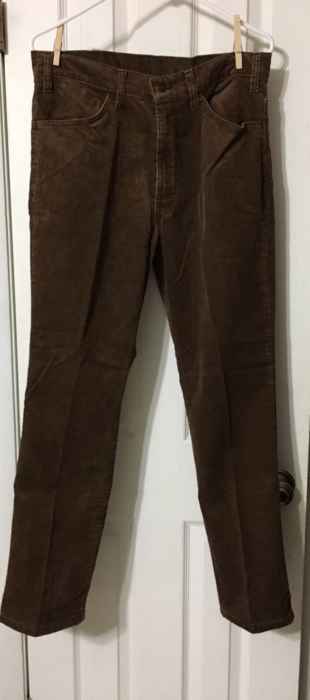 VINTAGE LEVIS 519 MENS Corduroy JEANS Pants Chocolate Brown WHITE TAB USA #Levis