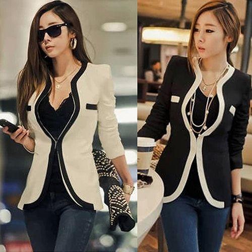 Affari di Modo delle donne Cappotto Slim Fit Suit Blazer Tasche Manica Lunga Top 09WG