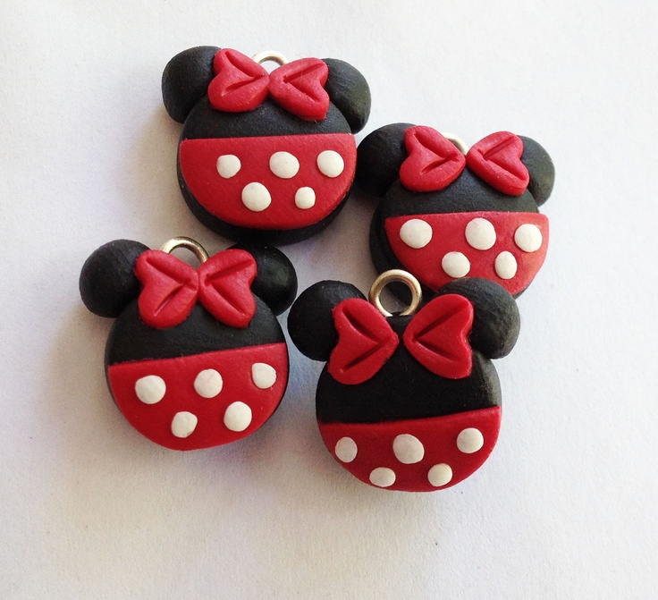 Minnie inspired charms - polymer clay charms. $5.75, via Etsy.