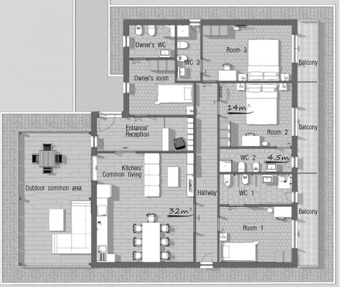 Bed And Breakfast Design Floor Plans A Guide With Project Dwgs And 3d Bim Model Biblus Floor Plan Design Floor Plans Bed And Breakfast