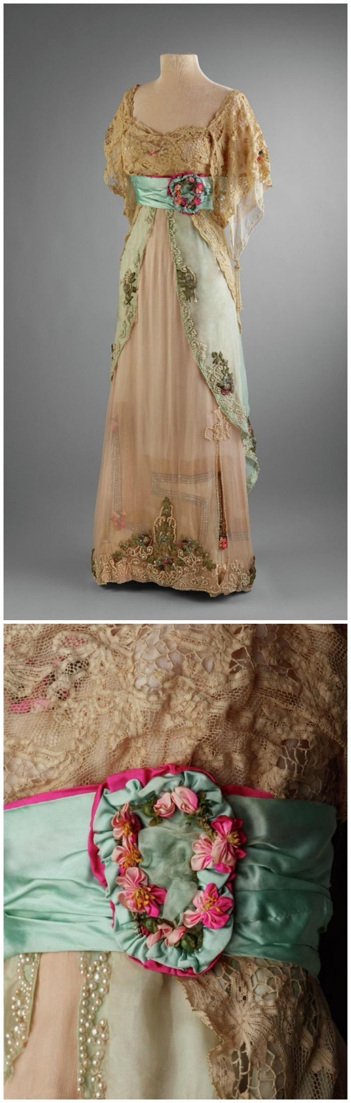 1911-1913 Evening dress, by Widoff, New York. High-waisted Edwardian party gown with a narrow sheath underskirt of plain silk charmeuse and a multilayered overskirt of silk lawn. The short, full lace sleeves cover a white lawn undersleeve edged with miniature pearls and ending in pearl tassels. A pale turquoise satin waist sash backed with bright pink satin closes on the left side with a decorative oval medallion of the pink ribbon flowers.