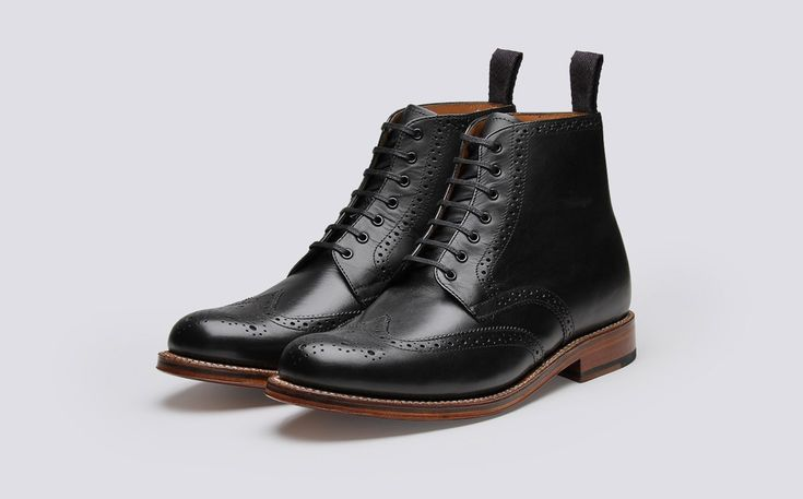 Mens Brogue Boot in Black Calf Leather with a Leather Sole | Alfred | Grenson Shoes - Three Quarter View