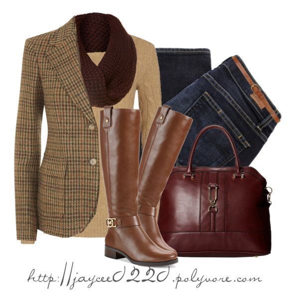 "Tweed blazer, tan sweater, brown scarf and jeans   ""Ralph Lauren Blazer"" by jaycee 0220"