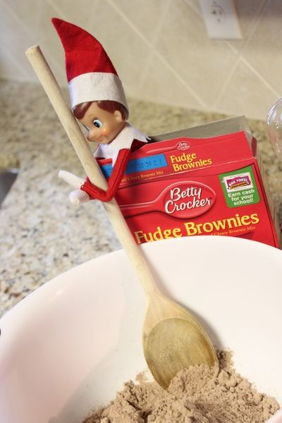 Elf making brownies with a note written to the kids asking to help finish making the brownies by cracking eggs. :): Elf Making, Making Brownies, Help Finish, Shelf Ideas, Finish Making, Note Written, Elf On The Shelf, Kid