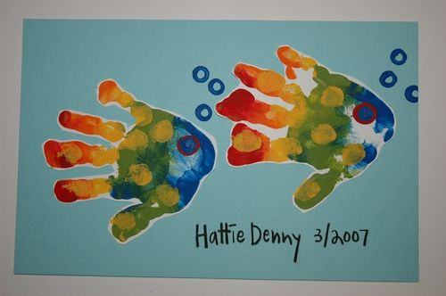 rainbow fish handprints#craft #kids