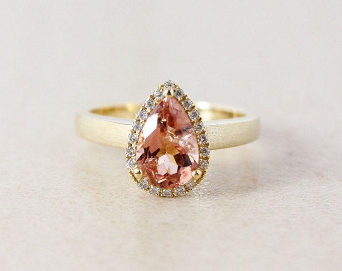 Champagne Pink Tourmaline and Diamond Engagement Ring - Halo - 10K Yellow Gold
