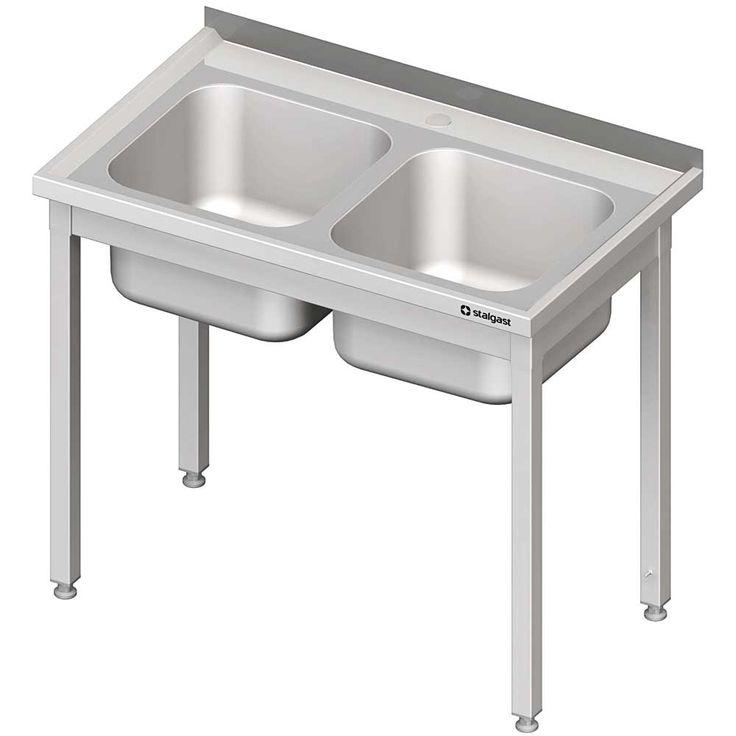 Stół ze zlewem 2-komorowym, bez półki skręcany meble nierdzewne