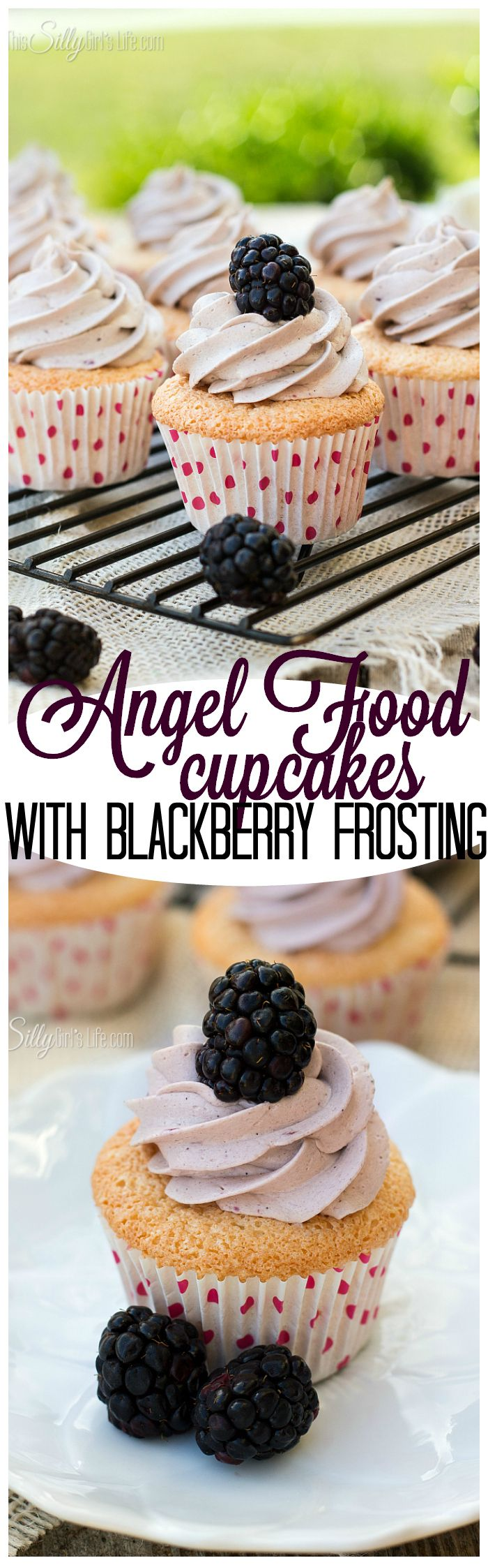 Angel+Food+Cupcakes+with+Blackberry+Frosting,+the+lightest,+airiest+from+scratch+angel+food+cupcakes+with+sinfully+sweet+and+smooth+blackberry+frosting.+Hello,+Summer!+-+ThisSillyGirlsLife.com
